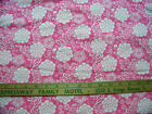 PINK W WHITE FLOWERS PRINT COTTON FLANNEL FABRIC quilt doll