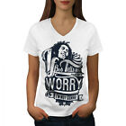 Bob Marley Dont Worry Women V-Neck T-shirt NEW | Wellcoda