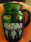 Vintage Glass Water Pitcher - Hand painted