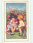 Edge Tear Pre Linen valentine CUTE GIRL CLUTCHES HEART ON BENCH WITH BOY HJ2451