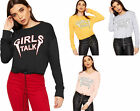 Womens Long Sleeve Girls Talk Slogan Text Print Cropped Sweatshirt Ladies Top
