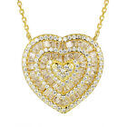 Heart Shape Pendant 925 Silver 14k Gold Finish Chain Yellow Solitaire