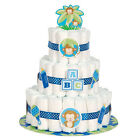 BABY BOY MONKEY DIAPER CAKE KIT 25pc Shower Party Supplies Decorations Blue