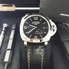 NEW Panerai Luminor 1950 3 GMT Power Reserve Steel Automatic Mens watch PAM00321