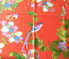 Vintage French Bird Butterfly Floral Cotton Fabric ~ Orange Blue Green