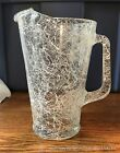 1960's Vintage Heavy Clear Glass Pitcher  w White Sqiggles Splatter Pattern