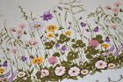 BUMBLE BEES  SPRING WILDFLOWER GARDEN N PINK PURPLE VTG GERMAN PRINT TABLECLOTH