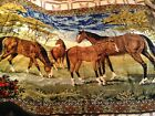 VINTAGE / ANTIQUE WALL TAPESTRY HORSE SCENE HANDMADE ART BEAUTIFUL STITCH 4'x5'