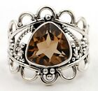 3CT Smoky Topaz 925 Solid Sterling Silver Filigree Ring Jewelry Sz 7