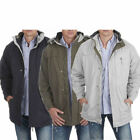 Mens Classic Warm Padded Microfibre Parka Rain Jacket Car Coat Fleece Lined New