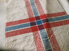 Antique Vtg. Loom Woven Blue Red French or German Cotton Fabric ~ Runner
