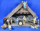 Vintage Musical Nativity Creche 12 Plastic Figures Complete Silent Night