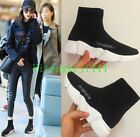 Fashion Womens Hottest Knit Sock Black n White Trainer Woman Sneaker US Size NEW