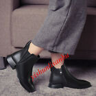 Womens Block Low Heel Side Zip Warm Ankle Boots Genuine Leather Elegant Shose