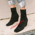Womens Wedge Hidden Heel Back Zip Mid Calf Boots Peep Toe Faux Suede Shose Size