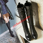 Fashion Women The knee High Boots Lace Up Punk Motrocycle Biker Block Heel shoes