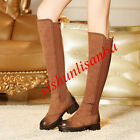 Womens Suede Over The Knee High Long Boots Biker Motrocycle Chic Round Toe Shoes