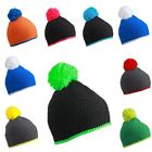Pompom Winter Beanie with Contrast Stripes Knitted Cap Crochet Hat Ski
