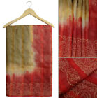 Vintage Saree Indian Bandhani Printed Pure Khadi Silk Brown Sari Craft Fabric