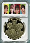 Beatles Early Postcard Images Gold Coin with Display Case