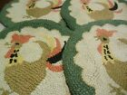 4 Vintage Hand Hooked Chair Pads Roosters Chickens