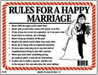 Rules for a Happy Marriage Classic Wedding Anniversary Sign Gift NEW 9 x12 N39
