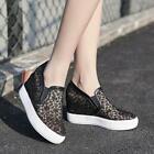 new Womens Lace hollow out Hidden Wedge Heels antiskid Platform Sneakers shoes