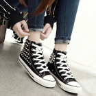 Womens Punk Lace Up High Top Sneakers Casual Flat Shoes Athletic Running Shoes