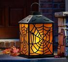 Two Foot Tall Flickering Halloween Lantern Spooky Spiders Web Black and Orange
