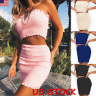 USA Womens 2 Piece Bodycon Two Piece Crop Top and Skirt Set Evening Party Dress