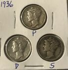 1936 PDS Mercury Dimes 90% Silver Nice Collector Coins SEE PICS