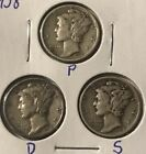 1938 PDS Mercury Dimes 90% Silver Nice Collector Coins SEE PICS