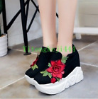 Womens Flower Pull On Shoes Sneakers Wedge Heels Mixed Color Thick Sole US 6