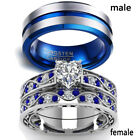 2 Rings Couple Rings Stainless Steel Sapphire White Gold CZ Womens Wedding Ring