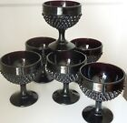 RARE Collection of 6 Hobnail Black Amethyst LE Smith Glass Goblets USA MADE