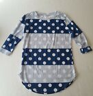 Boutique Shirt Blue Stripe White Polka Dots 3 4 Sleeve Junior Girl Small
