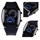 Men's LED Watch Light Flash RPM Turbo Speedometer Sports Car Dial Meter Watch AA