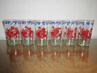 Vintage 50s Hazel Atlas Red Blue Green Girl Watering Can Glass Tumblers SIX RARE