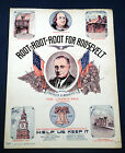 Rare Vtg 1936 Sheet Music Root Root Root for Roosevelt Campaign Song President