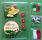 EMBELLISHMENT KIT W CHRISTMAS BELL  FLOWER DIE CUTS + BRADS BUTTONS RIBBON NEW