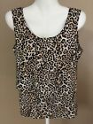 CHICOS Size S M 1 Animal Print Sleeveless Blouse Top Poly Double Panel 8 10