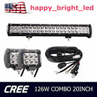 20in 126W Cree Combo LED Light Bar + 2X 18W LED Pods +Switch ON OF Wiring Kit