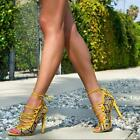 Womens Stilettos High Heels Mixed Color Party Hollow Open Toe Shoes Sandals T279
