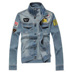 New Mens Vintage Trendy Denim Jacket motorcycle Jean Coat Outwear Slim Hot HN199