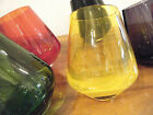 VTG 1960s MCM SET 6 MULTI COLOR ROLY POLY TIPSY BOTTOMS DRINKS CASED ART GLASS