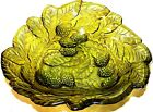 Delightful Small Avocado Indiana Glass Candy Nut Dish  Loganberry Leaf Pattern