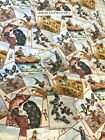 Sports Afield Hunting  Fishing Tossed Cards cotton Fabric per yard quilt sew