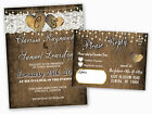 Set of 100 Lace Wedding Invitations Rustic Barn Heart Country with RSVP Cards
