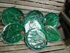 Lot of 7 Lefton Holly w Red Berries Christmas Dinner Plates 9 1 2 JAPAN