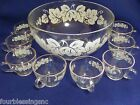 ANCHOR HOCKING ETCHED PUNCH BOWL W. 8 CUPS-WHITE GRAPE LEAVES-GOLD TRIM-VINTAGE
